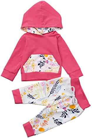 02fd0116699a Fineser TM 2pcs Infant Baby Girls Warm Outfit Clothes Set Floral Print Long  Sleeve Hoodie Tops+