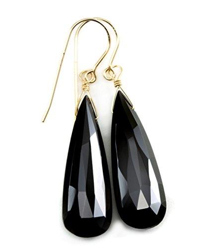 14k Yellow Gold Black Spinel Earrings Long Faceted Briolette Teardrop (Designer Spinel Earrings)
