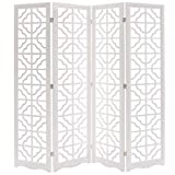 Modern 4 Panel Double Sided Folding Wood Screen, Moroccan Cutout Room Divider, White
