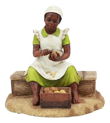 Ebros Vintage Black Americana History African American Girl Peeling Potato Statue 5.25