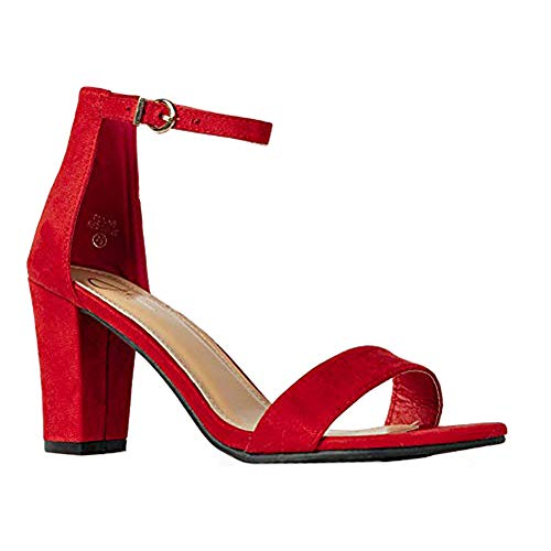 J. Adams Elaine High Heel - Classic Adjustable Ankle Strap Chunky Block Pumps ()