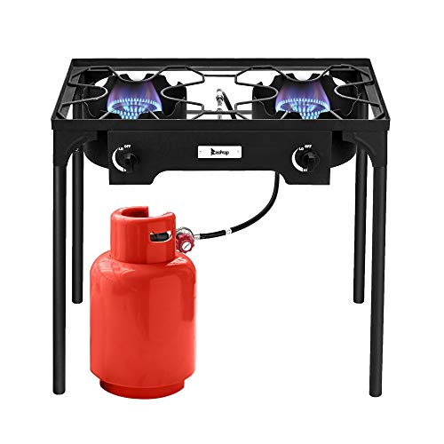 Kenwell Outdoor Camp Stove High Pressure Propane Gas Cooker Portable Cast Iron Patio Cooking Burner (Double Burner 150000-BTU)