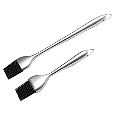 Yhmall Basting Brush and Pastry Brush-Set Of 2 Silicone Brush with Stainless Steel Handle-12 Inch/7 Inch-Great For BBQ Meat,Grill,Cakes and Pastries