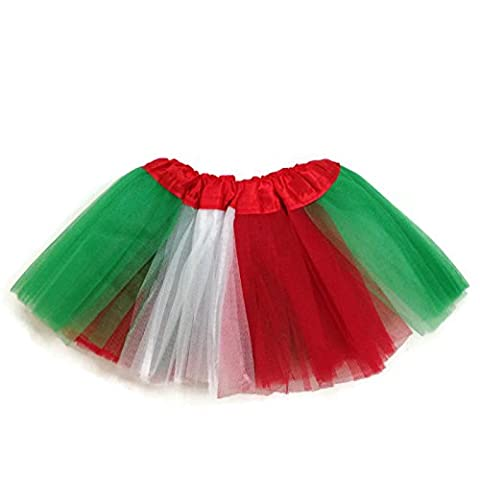 Rush Dance Colorful Ballerina Baby Dress-Up Princess Costume Recital Tutu (Infant 0-3 Years, Red/White/Kelly Green (Xmas))