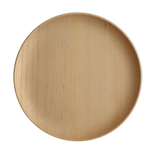 Plate wood household dried fruit plate, kitchen flat wooden dinner plate, restaurant round dessert plate fruit plate (Color : Wood color, Size : 24242.5cm)
