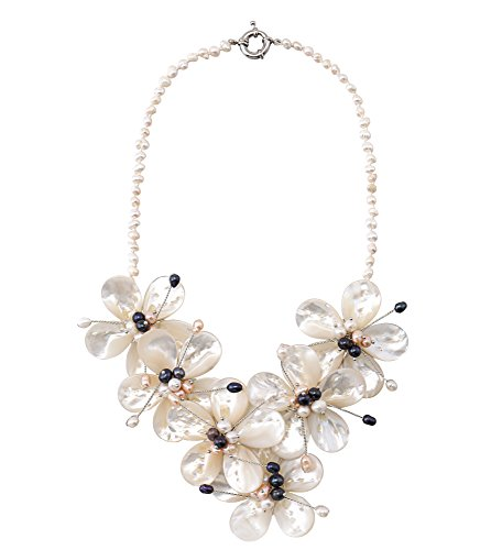Flower White Bib Beaded Statement Strands Necklace with Shell Synthetic Pearl Jewelry for (Pink Shell Pearl Necklace)