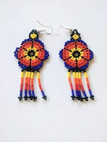 Handmade Huichol Beaded Beautiful Earrings! (Dark Blue)
