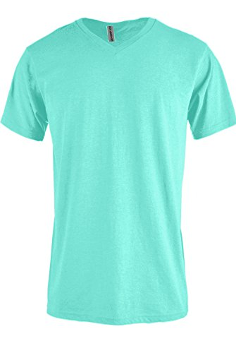 Mens Fitted Tee (Top Legging Men Casual Basic Short Sleeve Tri-Blend / 100% Cotton V-Neck T Shirt FITTED MINT)