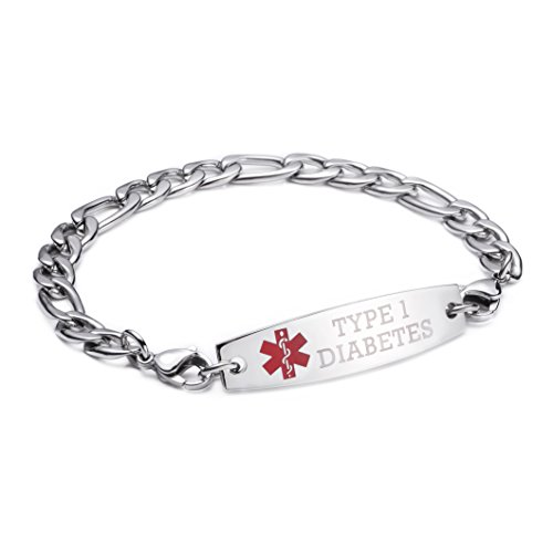 linnalove-Stainless Steel Figaro Chain lnterchangeable Medical Alert Bracelets-Pre-Engraving(Type 1 Diabetes/8.5