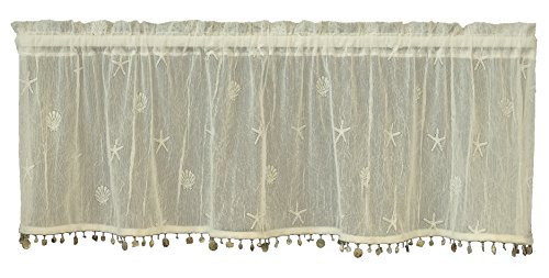 Heritage Lace Sand Shell Valance with Trim, 45 by 15
