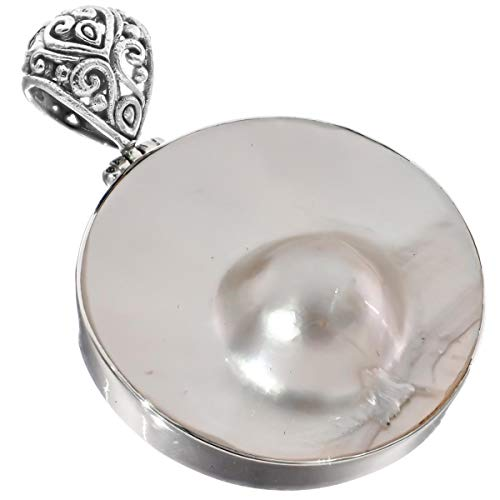 White Oyster Blister Mabe Cultured Pearl in Shell 925 Sterling Silver Pendant, 2