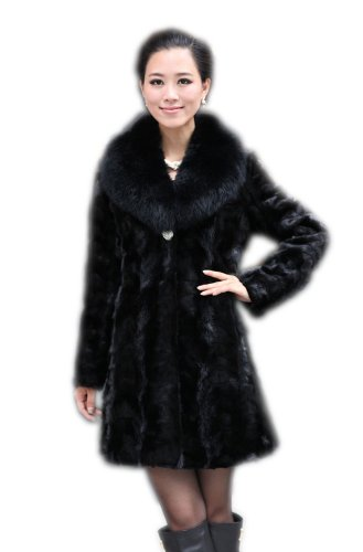 Queenshiny Long Women's 100% Real Mink Fur Coat with Fox (Black Mink Fur Coat)