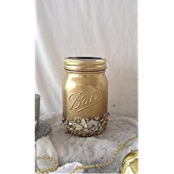 Rustic chic Gold Glitter Flaked Mason Pint Jar Valentines Day, Teacher Gift