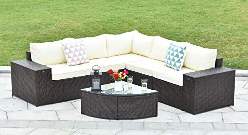Gotland 6-Piece Outdoor Furniture Sectional Sofa & Glass Coffee Table(Brown) with Washable Beige Cushions for Backyard,Pool,Patio| Incl. Waterproof Cover & Clips ()