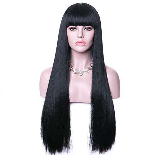 "Rosa Star 26""Long Straight Hair Wigs Natural Black Wig with Bangs Synthetic Full Wig for Women (1B)"