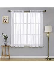 Deconovo Sheer Voile Curtains Rod Pocket Curtains Short Curtains Valance White Kitchen Tiers 2 Panels