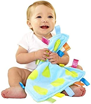 Breathable Infant Taggy Blanket Soft Touch Plush Taggy Toys Comfortable Security Taggie Present for Bedtime Newborn Baby Small Flowers