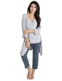 Mothers en Vogue Bamboo Caminurse PJ & Robe Set (3 pc.) - M - Dove-Spruce