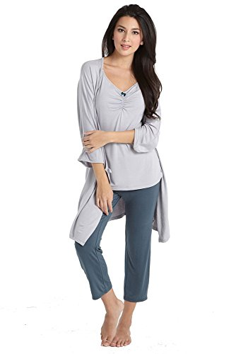 Mothers en Vogue Bamboo Caminurse PJ & Robe Set (3 pc.) - L - Dove-Spruce