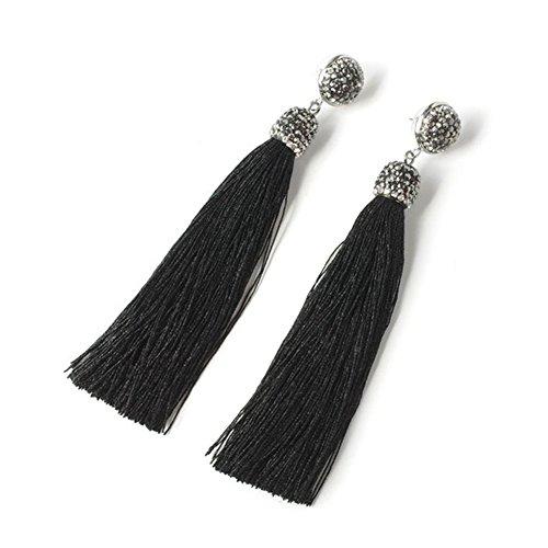 Long Tassel Stud Fringe Dangle Earrings for Women Pearl Shell Rhinestone Earring,19 Colors (Long Black with Rhinestone)