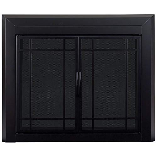 Pleasant Hearth EA-5012 Easton Black Firescreen Large Fireplace Glass Door, Gunmetal (Front Fireplace Replacement)
