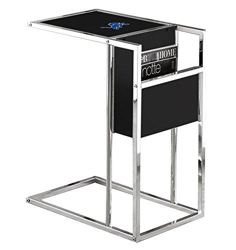 Glass Under Team Logo (New Black & Chrome Finish Slide-Under TV Tray with Glass Shelf, Magazine Rack & Your Choice of Football Team Logo! (Lions))