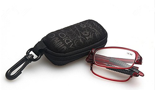 Compact Red Folding Full Frame Rim Reading Glasses +2.00 Crystal Lens Eyeglasses Magnifier Reader w/ Clip Holder Zipper - Rims Full Moon