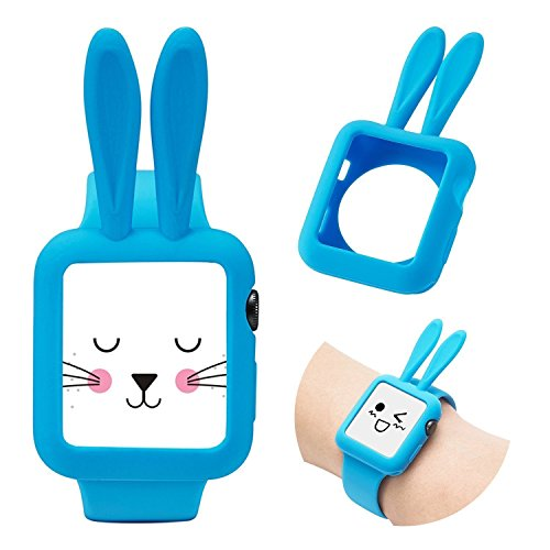 Josi Minea Apple Watch [42mm] Protective Snap-On Shell Bumper Case with Bunny Ears - Premium Anti-Scratch & Shockproof Silicone Guard Shield Cover for Apple Watch Series 3, 2 & 1 - 42mm [ Baby Blue ]