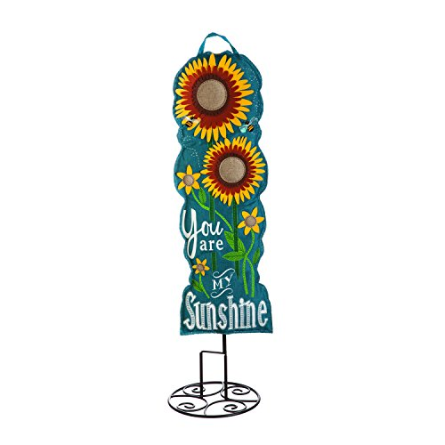 Evergreen Flag Sunflower Welcome 36-inch Outdoor Safe Burlap Statement Stake Décorative Sign