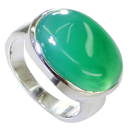 Natural Cabochon Green Onyx Ring Men Oval Bezel Style Handmade Sterling Silver Size 5,6,7,8,9,10,11,12 ()