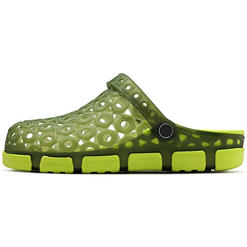 Eastlion Men's Jelly Hollow Breathable Sandals Massage Bottom Half Slippers Summer Casual Hole Shoes S1 Green ZFQLpyO6B