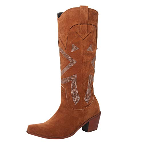 chenJBO Women's Retro Western Cowboy Bootie Stacked Chunky Block Heels Mid Calf Boots Cool Punk Style Knight