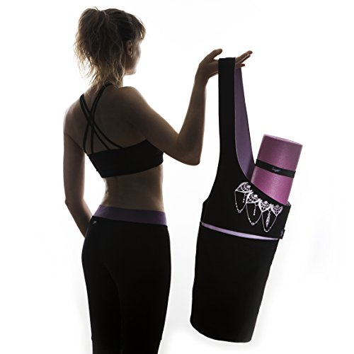 Yoga Mat Bag Elegant & Embroidered Cotton Tote With 2 Pockets | Wide Sling Carrier With Long Strap & 2 Elastic Mat Bands