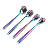 OdontoMed2011 Lot of 4 Pieces Rotating Spur Neurological Wartenberg Pinwheel 2 + 3 + 5 + 7 Heads Stainless Steel Multi Color Rainbow Pin Wheel Diagnostic Equipment