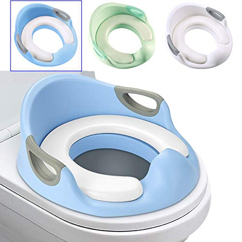 Luchild Potty Training Seat for Boys or Girls Toddlers Potty Training Toilet Seat with Detachable Soft Cushion Splash Guard Handles and Anti-Slip Backrest (Blue)
