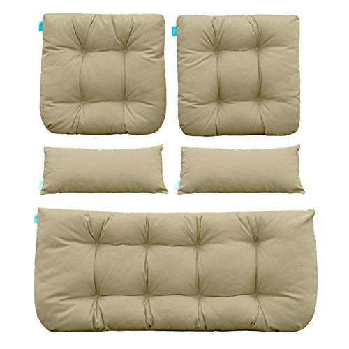 QILLOWAY Outdoor Patio Wicker Seat Cushions Group Loveseat/Two U-Shape/Two Lumbar Pillows for Patio Furniture,Wicker Loveseat,Bench,Porch,Settee of 5 (Beige)