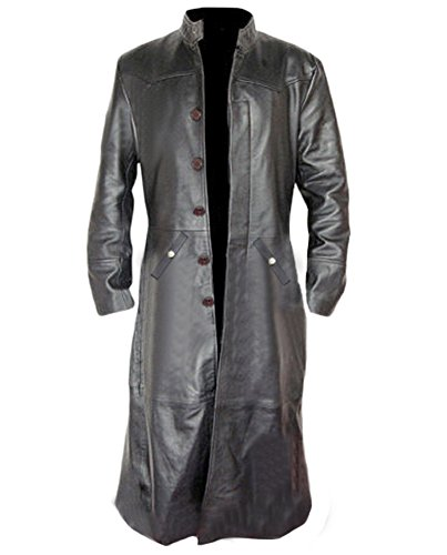 Mens Sexy Real Black Leather Long Matrix Goth Trench Coat Gothic -T3 (Medium) ()