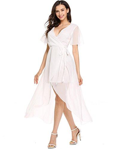 BEAUTYTALK Women's Wrap Chiffon Long Maxi Split Irregular Casual Dress(White,XXL)