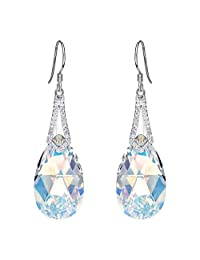 EleQueen 925 Sterling Silver CZ Teardrop Bridal Hook Dangle Earrings Adorned with Swarovski® Crystals