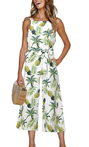 Dongpai Women's Floral Print Strap Jumpsuit Sleeveless Tie Waist Wide Leg Pant Rompers with Pockets by Dongpai (Image #5)