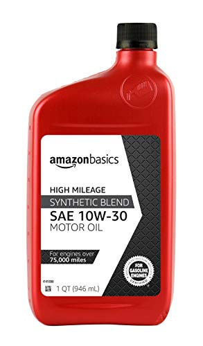 AmazonBasics High Mileage Motor Oil - Synthetic Blend - 10W-30 - 1 Quart-6 Pack