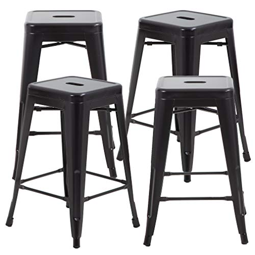 FDW Metal Bar Stools Set of 4 Counter Height Barstool 24 Inches Industrial Bar Chairs Patio Stool Stackable Backless Stool Indoor Outdoor Metal Kitchen Stools Bar Chairs from FDW