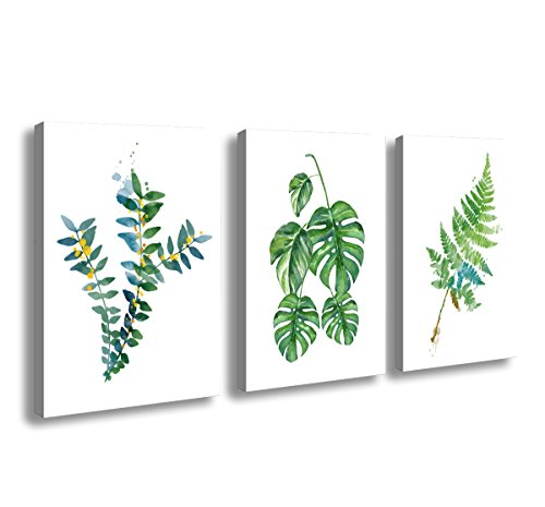- H72334 Canvas Wall Art Watercolor Green Leaf Canvas Painting Wall Art for Home Wall Decor