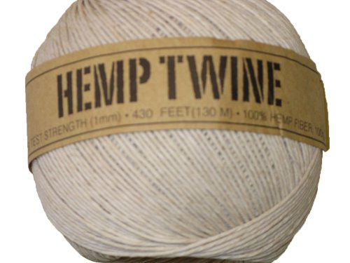 Hemp Twine White 20# 1mm 430Ft 130m (Hemp Mm 1)