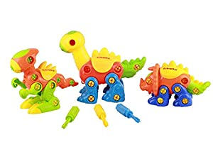 Kidwerkz Dinosaur Toys, STEM Learning (106 pieces), Take Apart Fun (Pack of 3), Construction Engineering Building Play Set For Boys Girls Toddlers, Best Toy Gift Kids Ages 3yr - 6yr, 3 Years and Up