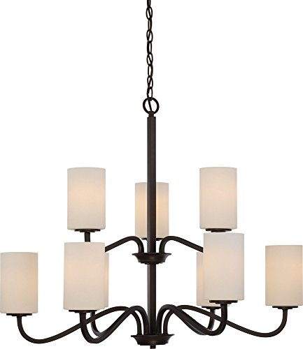Nuvo Lighting 60/5909 Willow 9 Light 100W A19 Max. Medium Base Chandelier 2 Tier with White Glass, Aged Bronze