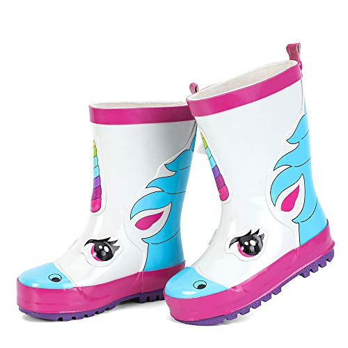 hiitave Kids Toddler Waterproof Rubber Rain Boot for Boys Girls with Easy Pull On Handles White/Graffiti/Rainbow 7 M US Toddler