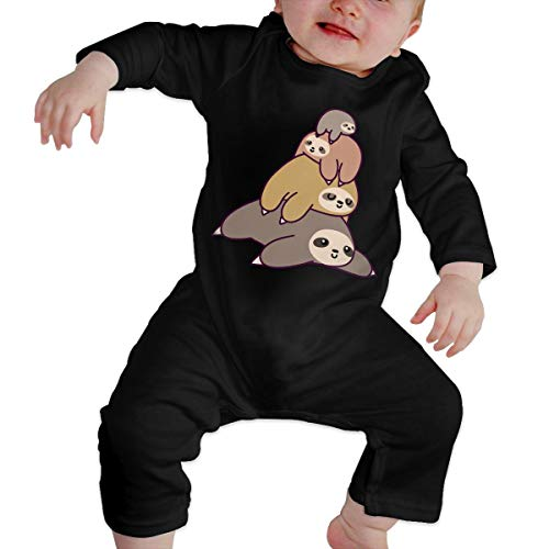 YUE--3BODY Sloth Stack Newborn Baby Long Sleeve Baby Newborn Boy Superman Bodysuits Onesies Black ()