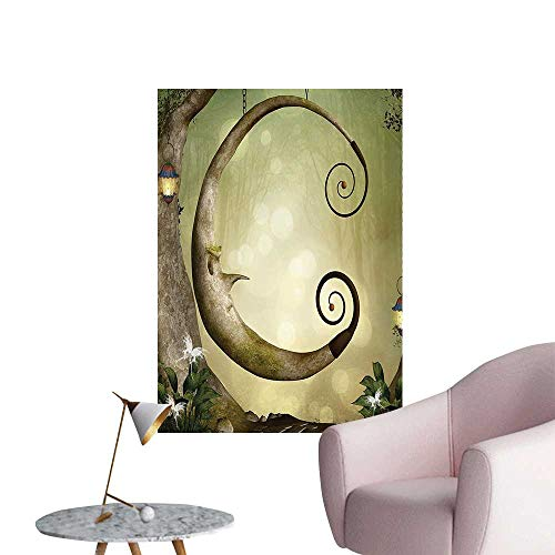 "Wall Stickers for Living Room Forest Secret Swing Old Tree Curly Half Moon Shaped Lamps and Butterflies Vinyl Wall Stickers Print,24""W x 44""L"