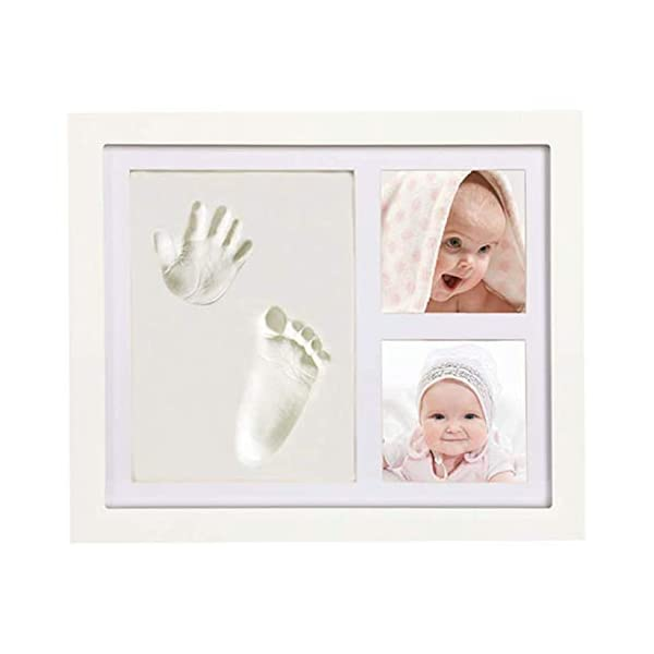 Handprint and Footprint Photo Kit by Squiggle Baby- NO Mold – Safe and Non-Toxic Clay- Nursery Picture Frame Wall Decor- Unique Baby Shower Gift, Keepsake Box for Girls, Boys, Pets